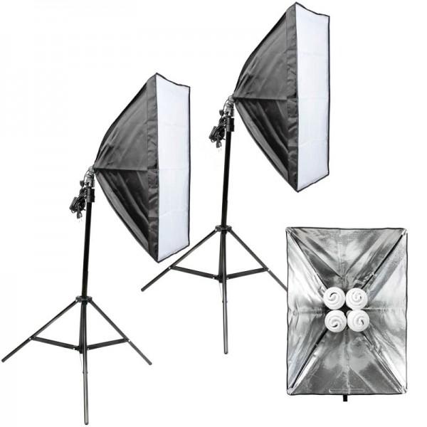 Quenox 2 Tageslicht-Boden-Fotolampen 120W (1040W) 16000 Lumen 85 Ra Softbox Energieeffizienzklasse A