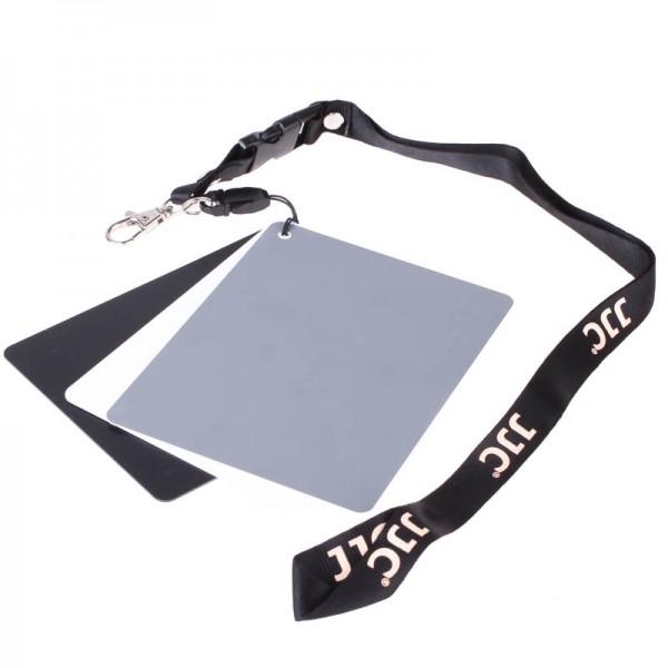 JJC 3in1-Set mit Graukarte, Weißkarte und Schwarzkarte 10 x 13 cm - z.B. für Weißabgleich und Belich