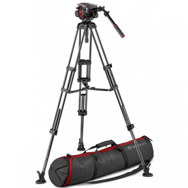 Manfrotto Carbon Videostativ mit Mittelspinne & 504 Videokopf