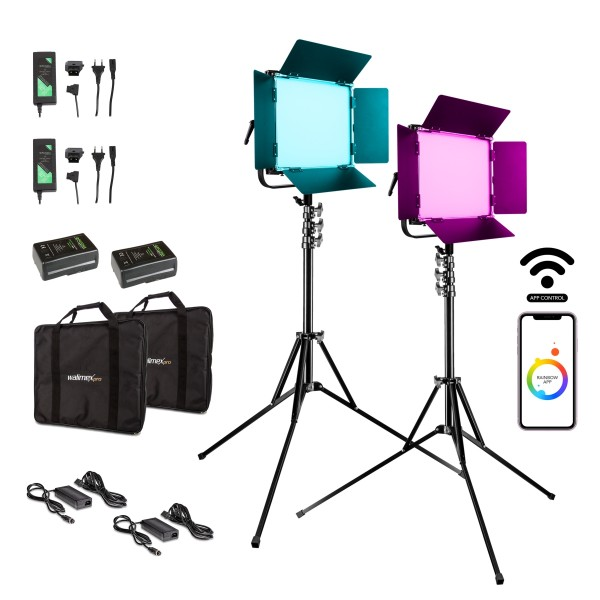 Walimex pro LED Rainbow 100W RGBWW Set 4 (2x Rainbow 100W, 2x Lampenstativ GN-806, 2x V-Mount Akku 1