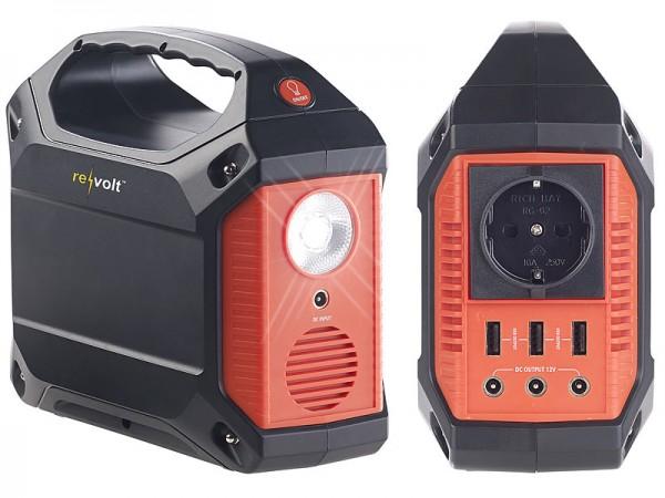 Revolt Powerstation & Solar-Konverter, 42 Ah, 1x 230 V, je 3x 12 V & USB, 180 W