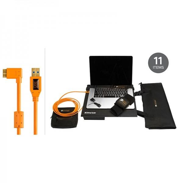 Tether Tools Pro Tethering Kit mit Tethering-Plattform mit USB-Kabel für USB 3.0 Micro-B (orange)