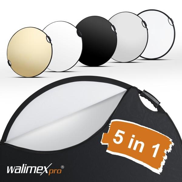 Walimex pro 5in1 Ø107cm Faltreflektor wavy comfort mit Griffen und 5 Reflektorfarben