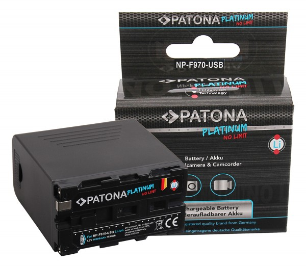 Patona Platinum Akku für Sony NP-F970 F960 F950 inkl. Powerbank 5V/2A USB Ausgang 10500mAh und Micro