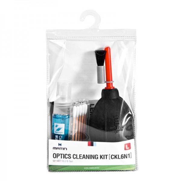 Matin Optics Cleaning Kit L Reinigungsset mit Reinigungsflüssigkeit, Tüchern und Blasebalg