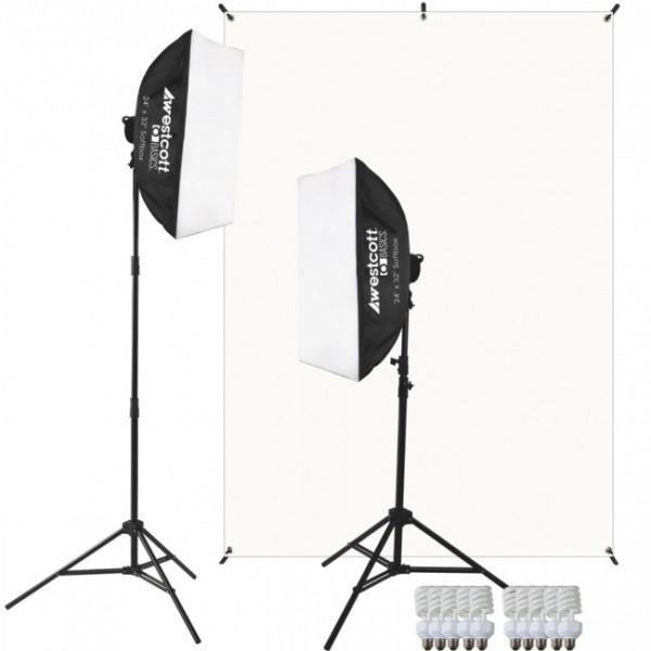Westcott D5 2-Light Video Blogging Kit mit X-Drop™ Stand & weisser Hintergrund