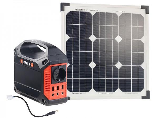 Revolt Solar-Generator & Powerbank mit 20-W-Solarzelle & Anschlusskabel, 42Ah