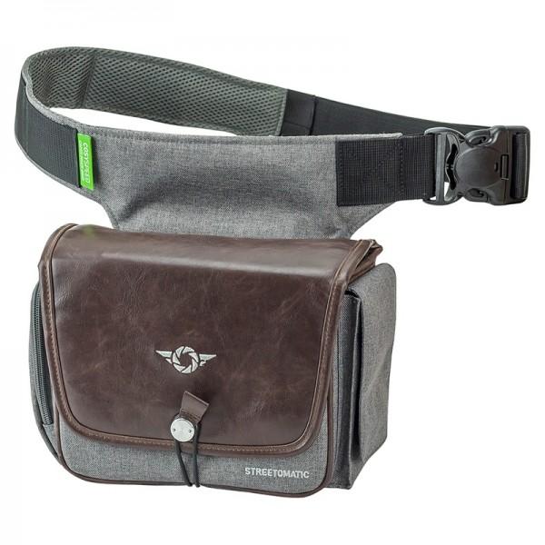 Cosyspeed Kameratasche schwarz-grau mit Hüftgürtel Camslinger Streetomatic+ Fototasche für System- u