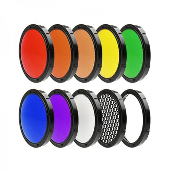 SMDV Lichtfilter-Kit für Speedbox-Flip Softbox 7 Farbfilter, Diffusor und Wabenaufsatz