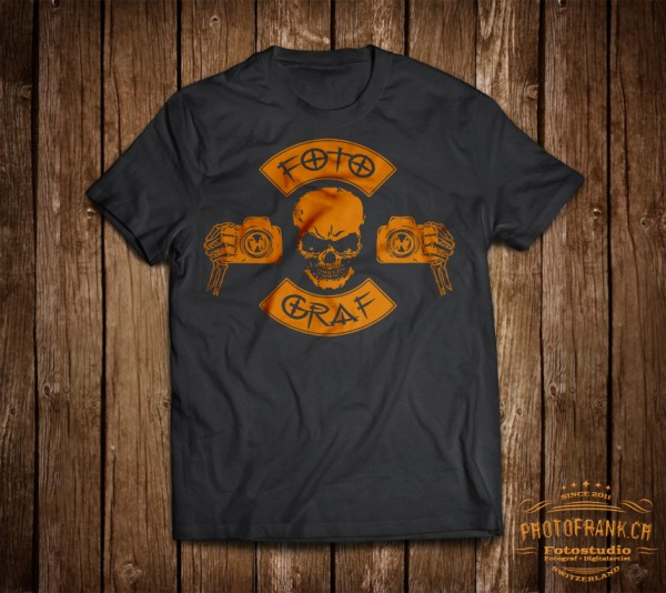 T-Shirt Fotograf - orange/braun