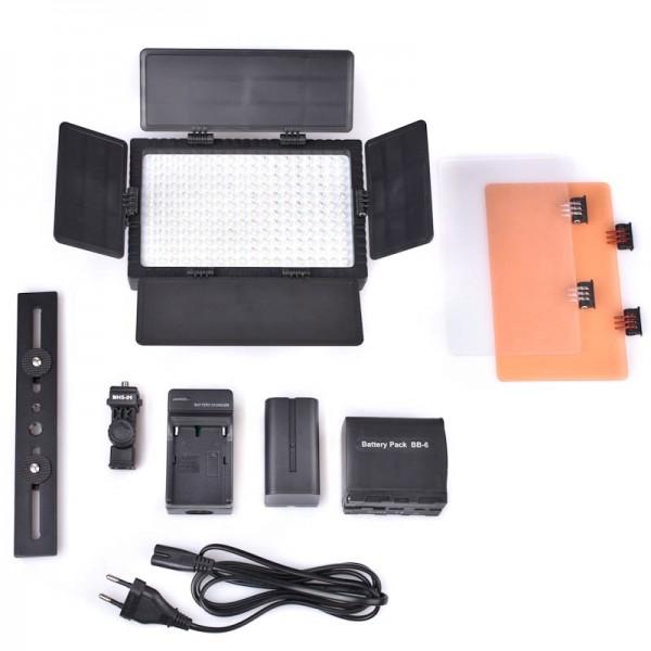 Quenox DV-216V LED Videoleuchte für DSLR und Systemkamera 2400 Lux