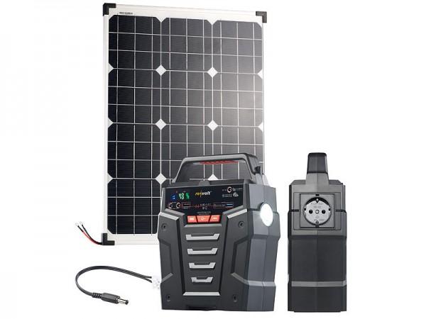Revolt Solar-Generator & Powerbank mit 50-W-Solarzelle & Anschlusskabel, 75Ah
