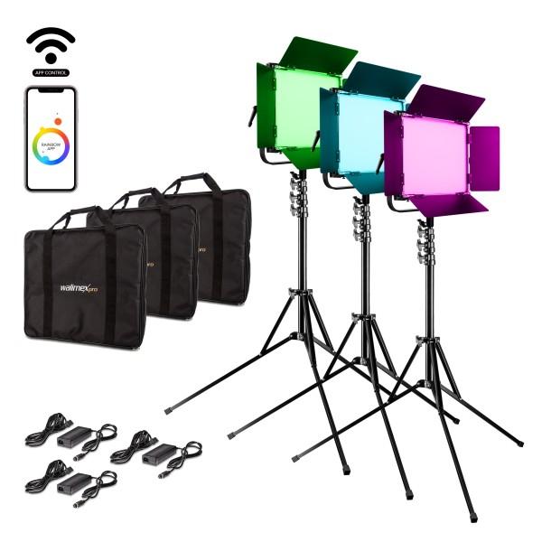Walimex pro LED Rainbow 100W RGBWW Set 3 (3x Rainbow 100W, 3x Lampenstativ GN-806)