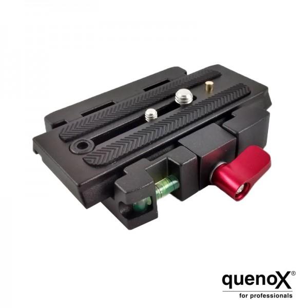 Quenox QRC Schnellkupplung inklusive Klemmplatte zum Umrüsten von Stativköpfen