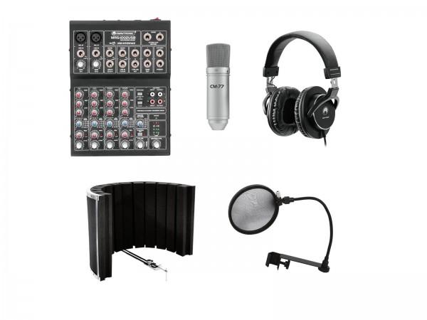 Omnitronic Set Podcast 2 - Podcast-Set mit Mischpult, Kopfhörer, Mikrofon, Absorber und Popfilter