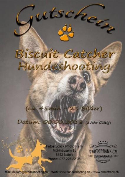 Gutschein - Biscuit Catcher - Hundeshooting inkl. Leinwanddruck