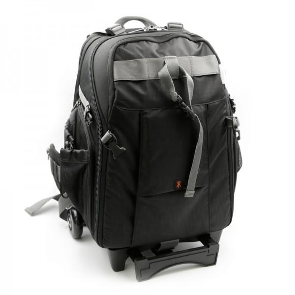 Quenox Rollenträger L Fototrolley und Kamerarucksack schwarz mit abnehmbarem Trolleygestänge