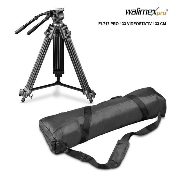 Walimex pro EI-717 Pro 133 Videostativ 133 cm mit Fluidneiger