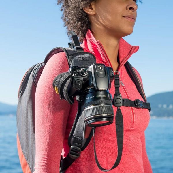 Cotton Carrier StrapShot Holster G3 grau- Rucksackgurt-Holster für 1 DSLR- oder DSLM-Kamera